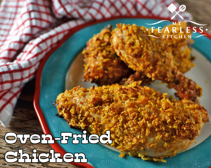 Oven-Fried Chicken from My Fearless Kitchen. Do you want the juicy taste and crispy crust of fried chicken, without standing at the stove forever to fry it? This Oven-Fried Chicken is an easy option.