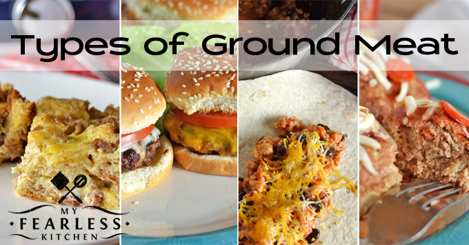 collage of recipes with different types of ground meat