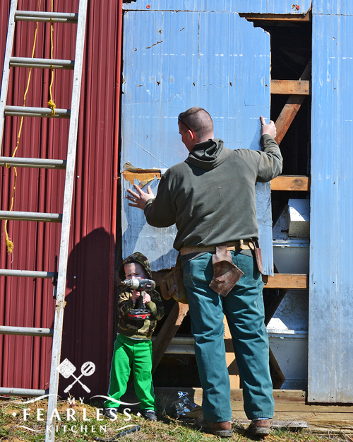 father and son fixing a wall on a barn