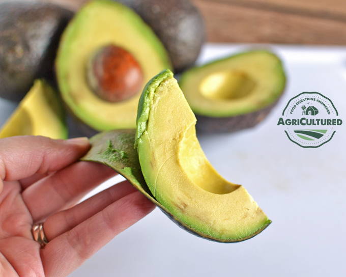 If your avocado is ripe enough, the skin will peel right off the fruit.