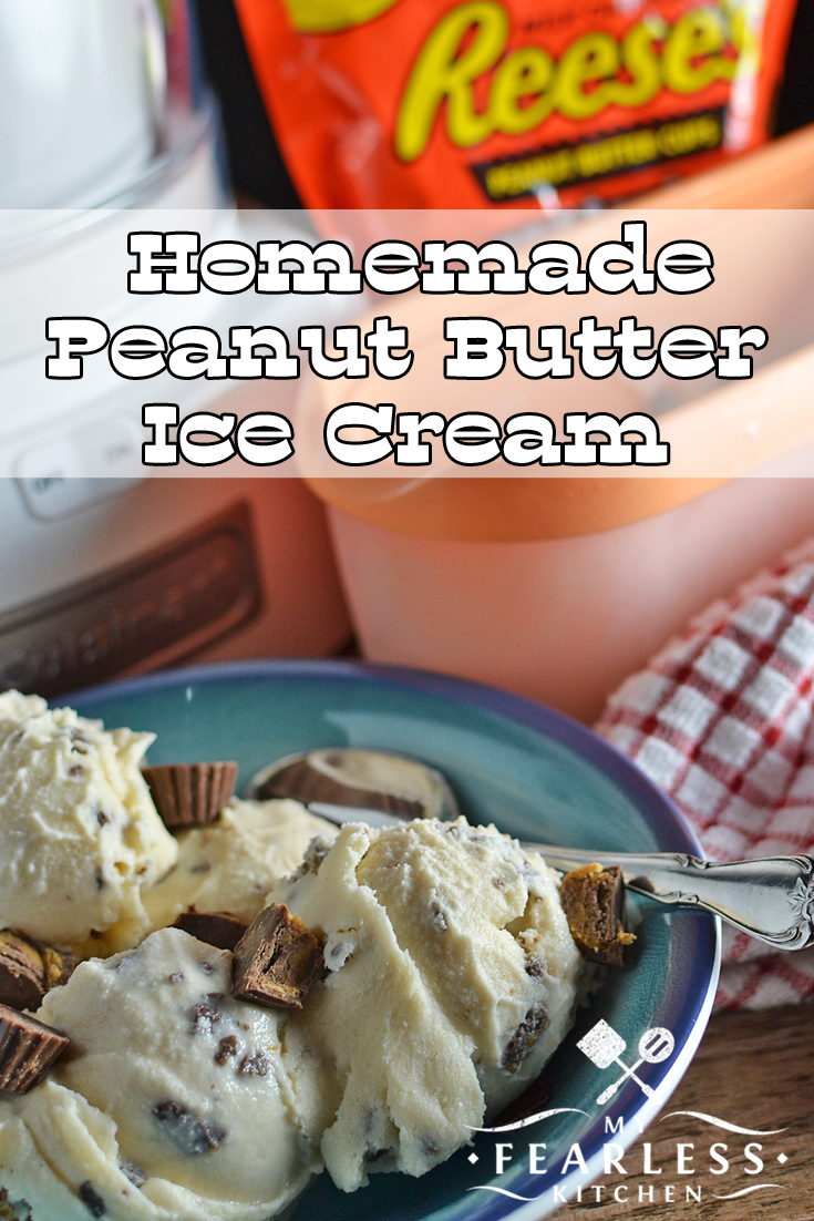 Homemade Peanut Butter Ice Cream from My Fearless Kitchen. Do you love Reese's Peanut Butter Cup Minis as much as I do? You'll love them even more in this Homemade Peanut Butter Ice Cream! #recipes #icecream #peanutbutter #homemadeicecream #dessert