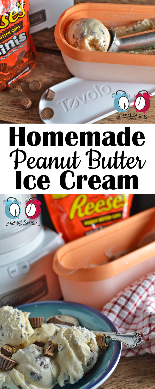 Homemade Peanut Butter Ice Cream from Alarm Clock Wars. Do you love Reese's Peanut Butter Cup Minis as much as I do? You'll love them even more in this Homemade Peanut Butter Ice Cream!