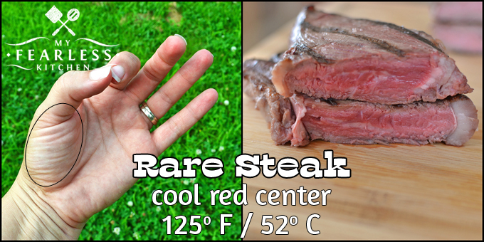 using your fingers to tell when your steak is cooked rare
