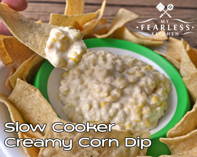 Slow Cooker Creamy Corn Dip from My Fearless Kitchen. This Creamy Corn Dip cooks up quickly in your slow cooker. Use fresh or frozen sweet corn, and you'll have a taste of summer all winter long!