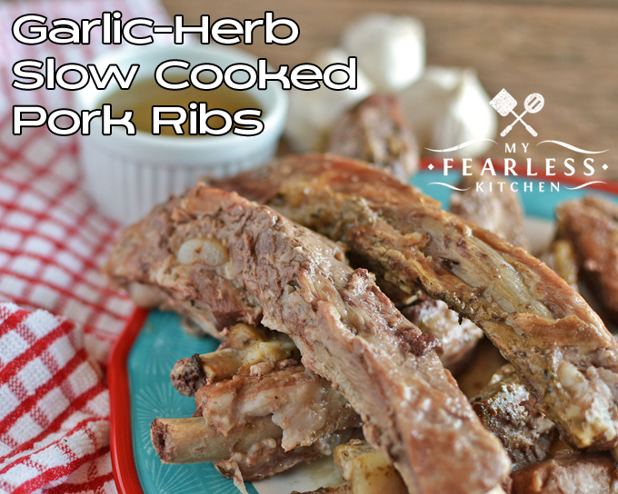 Garlic-Herb Slow Cooked Pork Ribs from My Fearless Kitchen. This recipe for Garlic-Herb Slow Cooked Pork Ribs makes tender, fall-off-the-bone-amazing ribs! Take them to the next level with fast homemade gravy.