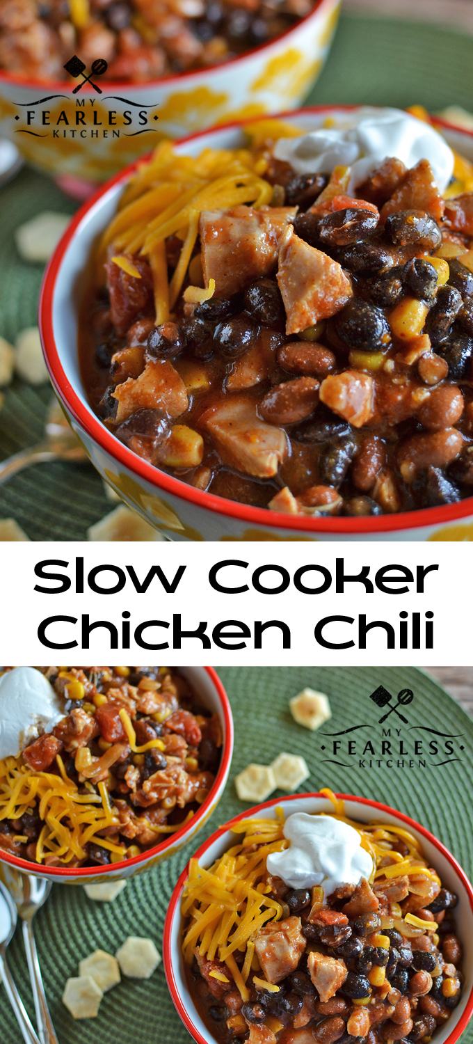 Slow Cooker Chicken Chili from My Fearless Kitchen. This Slow Cooker Chicken Chili is a fast, flavorful, dump-and-go recipe. It makes plenty for leftovers, and is an easy way to stay on budget. #chicken #chili #crockpot
