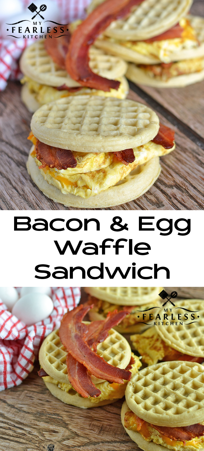Bacon & Egg Waffle Sandwich from My Fearless Kitchen. These Bacon and Egg Waffle Sandwiches are the perfect hot breakfast on busy mornings. Skip the drive through and grab one of these from your freezer!