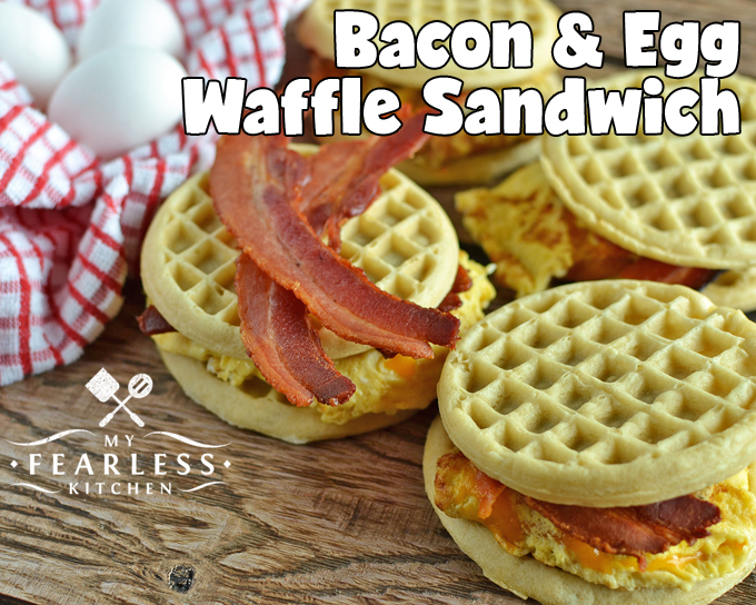 Bacon & Egg Waffle Sandwich from My Fearless Kitchen. These Bacon and Egg Waffle Sandwiches are the perfect hot breakfast on busy mornings. Skip the drive-through and grab one of these from your freezer!