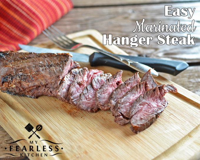 Easy Marinated Hanger Steak on a bamboo cutting board