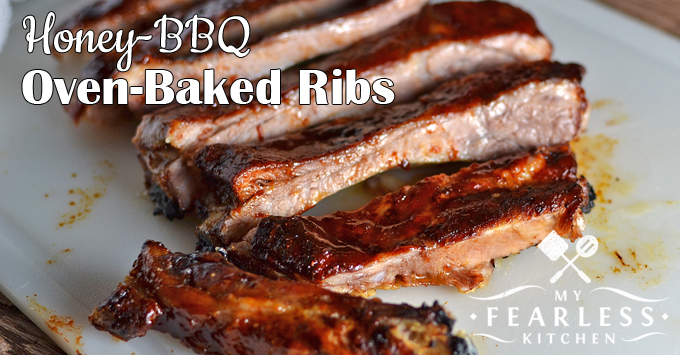 Oven-Baked Maple-BBQ Ribs from My Fearless Kitchen. Make a mess for dinner with these Oven-Baked Maple-BBQ Ribs! Only 5 minutes to prep, then baking in the oven while you go do other things. It's a win-win!