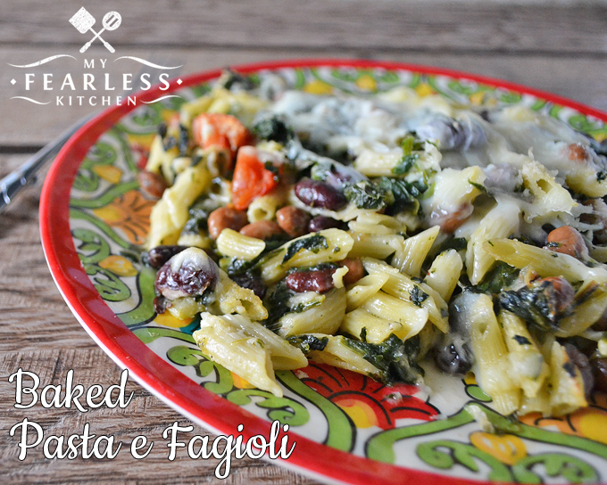 Baked Pasta e Fagioli from My Fearless Kitchen. This recipe for Baked Pasta e Fagioli is a fun twist on the traditional soup. Packed with pasta, cheese, and vegetables it's another kind of comfort food.