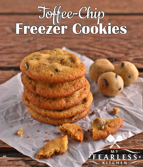 Toffee-Chip Freezer Cookies from My Fearless Kitchen. Make a big batch of dough for these Toffee-Chip Freezer Cookies. Freeze the dough, and only bake as many as you need. Save the rest for a cookie emergency!