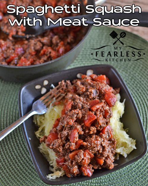 Spaghetti Squash with Meat Sauce from My Fearless Kitchen. This Spaghetti Squash with Meat Sauce is a fun way to get lots of veggies into a meal. Make a double batch and freeze some for a fast meal on a busy night.