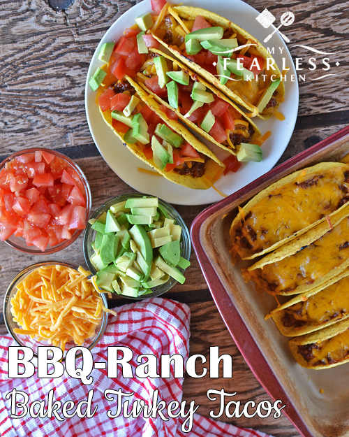 BBQ-Ranch Baked Turkey Tacos from My Fearless Kitchen. Try these BBQ-Ranch Baked Turkey Tacos for a fun spin on taco night. They are fast, easy, and oh-so-good! Top with tomato and avocado for even more fun!