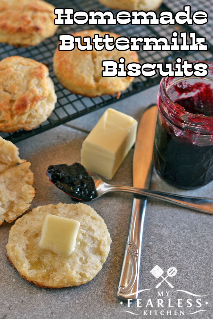 Homemade Buttermilk Biscuits from My Fearless Kitchen. These Homemade Buttermilk Biscuits are a special treat. Make up a double batch, enjoy them for breakfast, and save some in the freezer for a special day!