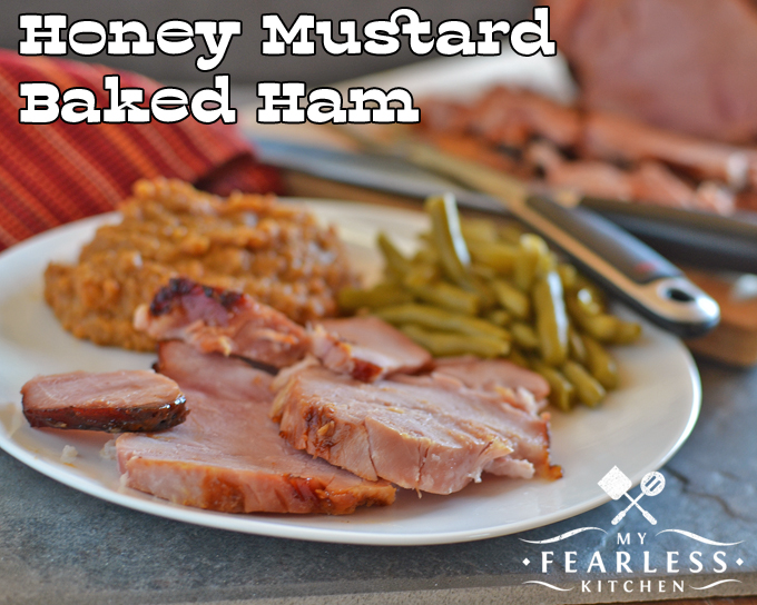 thick slices of Honey Mustard Baked Ham with green beans and mashed sweet potatoes