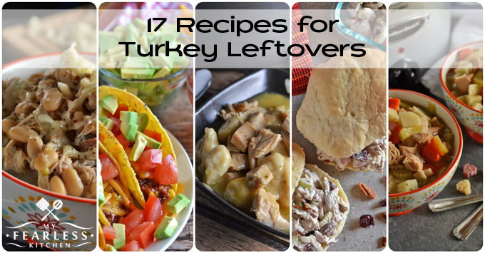 17 Recipes for Turkey Leftovers from My Fearless Kitchen. This list has every recipe you will need for your Thanksgiving leftovers! Make the most of your turkey leftovers with classic recipes like Crockpot Turkey Soup, Turkey Tetrazzini, Turkey & Dumplings, turkey sandwiches, turkey casseroles, and so much more! Find something new to love like BBQ-Ranch Turkey Tacos, Turkey Reuben Sandwiches, Slow Cooker Cheesy White Turkey Chili, or Herbed Turkey and Wild Rice.