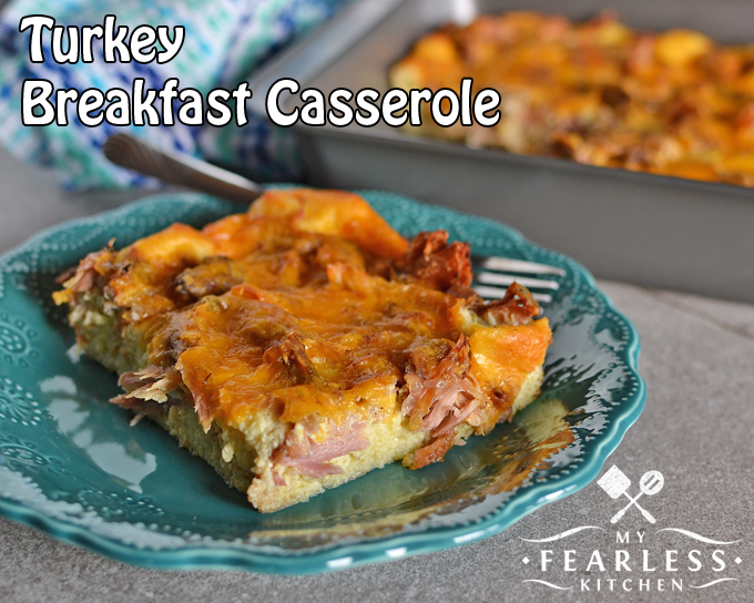 Turkey Breakfast Casserole from My Fearless Kitchen. This Turkey Breakfast Casserole is a great prep-ahead breakfast. Use up some of your leftover turkey, and enjoy a hot breakfast without much work!