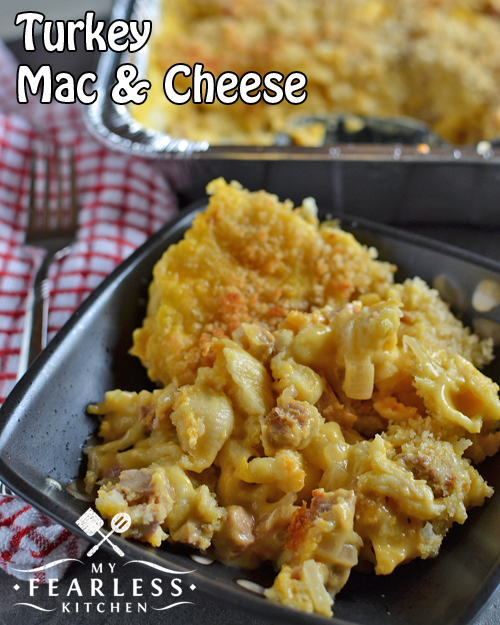 Turkey Mac & Cheese from My Fearless Kitchen. This kid-friendly Turkey Mac & Cheese is a twist on classic comfort food. It stores great in the freezer. Mix some up today and save it for a busy night!