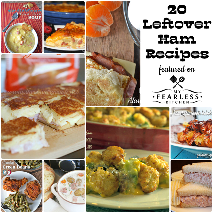 collage of leftover ham recipes