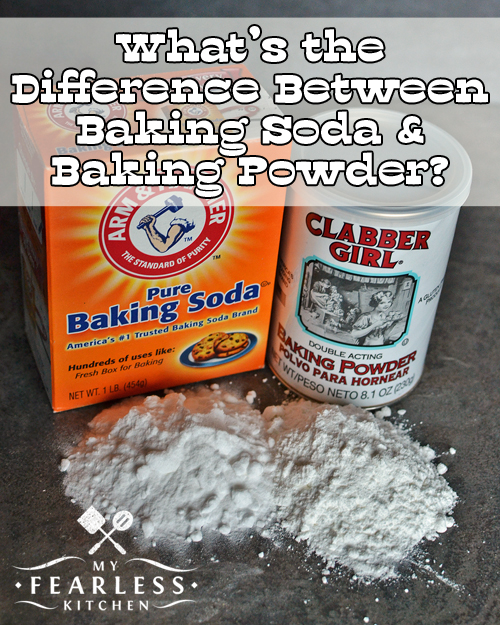 box of baking soda and can of baking powder on dark surface