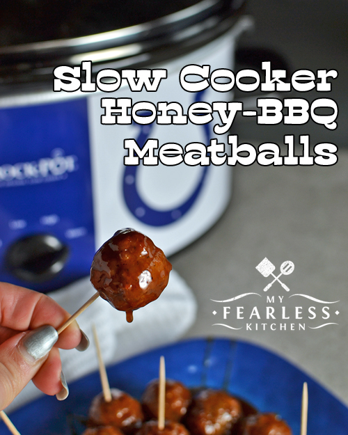 Slow Cooker Honey-BBQ Meatballs from My Fearless Kitchen. Are you looking for an easy tailgate recipe? These Slow Cooker Honey-BBQ Meatballs are simple, fast, and oh-so-good! Perfect for an appetizer or any time!