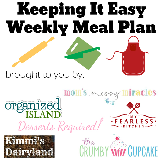 Weekly Meal Plan #19 from My Fearless Kitchen. This week's meal plan includes Bacon & Cheese Breakfast Muffins, Eggplant Parmesan Caprese Skillet Pizza, Mac & Cheese with Pork & Peas, Sesame Ginger Steak Cabbage Boats, Sweet & Spicy Pork Chops, Simple Chicken Tortilla Soup, and Coconut Bundt Cake with Lemon Filling.