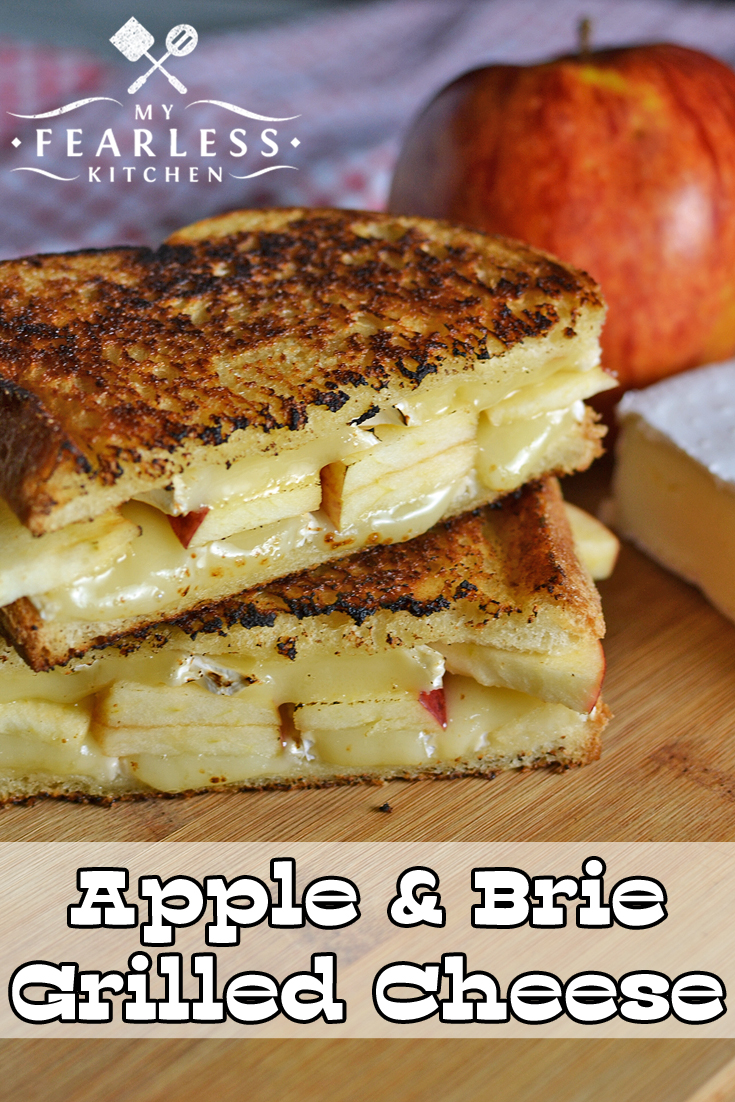 Apple & Brie Grilled Cheese from My Fearless Kitchen. Grilled cheese sandwiches aren't just for kids! Try this Apple & Brie Grilled Cheese for a grown-up spin on the comforting classic sandwich. #grilledcheese #sandwich #apple #brie #cheese