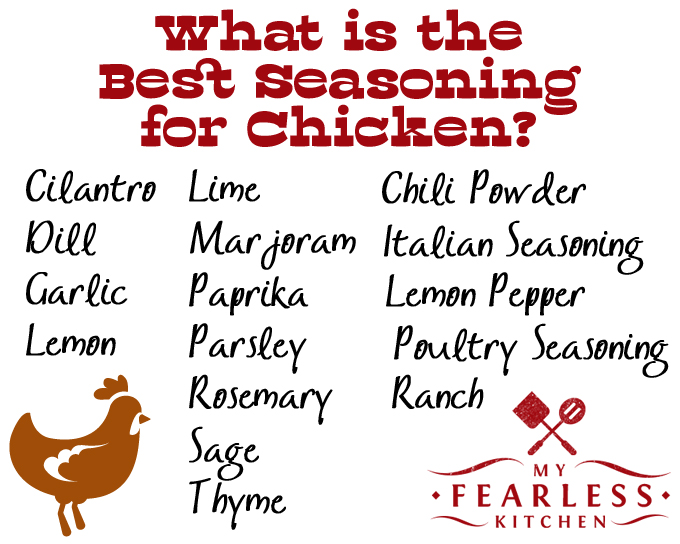 What's the Best Seasoning for Chicken? from My Fearless Kitchen. Have you ever wondered what spices to use with chicken? Find out the best seasoning for chicken, and get a printable cheat sheet to keep in your kitchen!