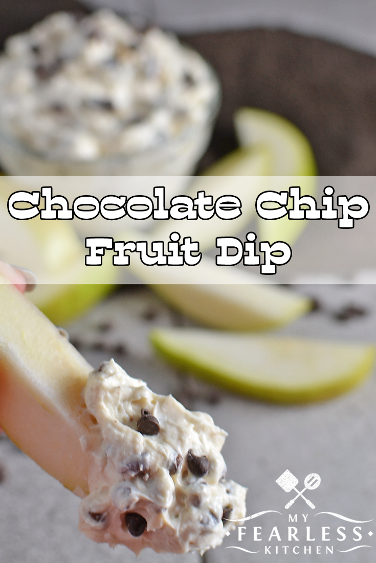 Mix cream cheese, mini chocolate chips and Greek yogurt to make this easy Chocolate Chip Fruit Dip. This cream cheese fruit dip recipe is so simple to make and so yummy you won't want to share with anyone! #snacks #easyrecipe #dips