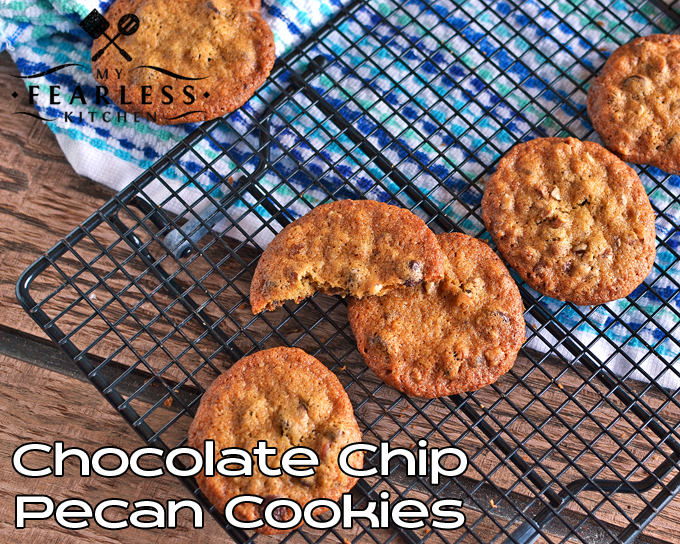 Chocolate Chip Pecan Cookies from My Fearless Kitchen. Are you looking for something a little different than regular chocolate chip cookies? Give these Chocolate Chip Pecan Cookies a try next time. (Keep some in the freezer to use when you need cookies in a hurry!)