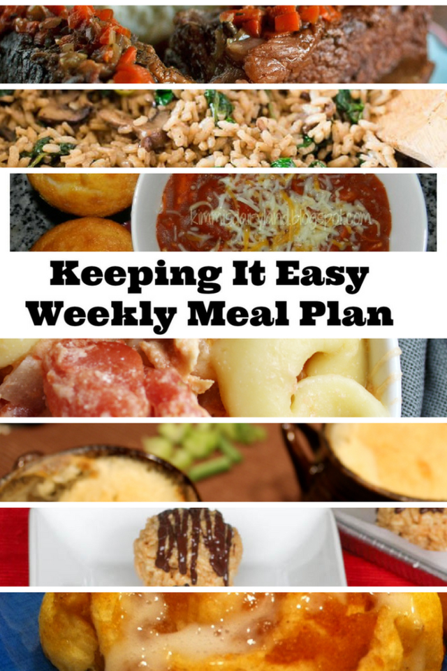Keeping It Easy Weekly Meal Plan #7 from My Fearless Kitchen. Easy Weekly Meal Plan #7 from My Fearless Kitchen. This week's meal plan includes Slow Cooked Short Ribs, Mushroom Spinach Risotto, BBQ Chicken Chili, Cheesy Chicken & Veggie Tortellini Skillet, Individual Chicken Pot Pies, Peanut Butter Krispie Balls, and Apple Cinnamon Rolls.