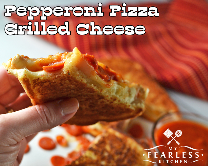 grilled cheese with mozzarella cheese, mini pepperoni, and pizza sauce