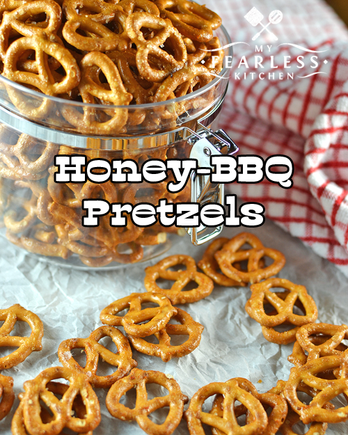 honey-bbq pretzels on a white background with a red and white napkin