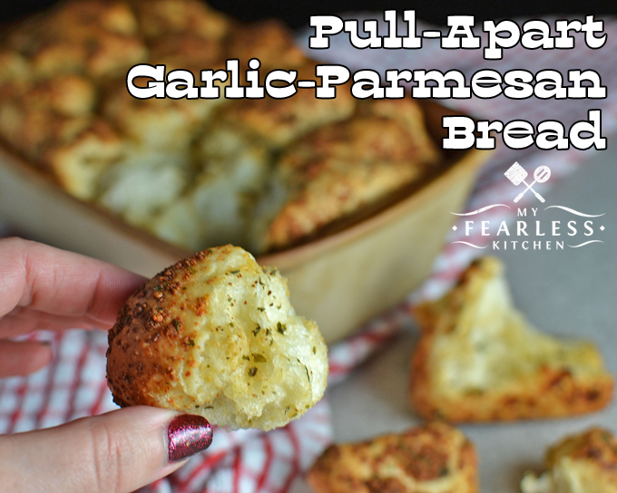 Pull-Apart Garlic-Parmesan Bread from My Fearless Kitchen. Are you looking for the perfect garlic bread? You won't be able to stop eating this Pull-Apart Garlic-Parmesan Bread. It's perfect as a side or by itself!