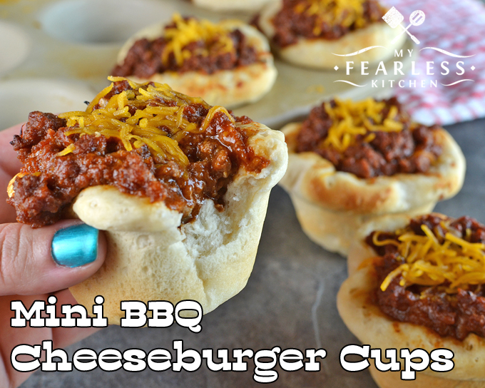 Mini BBQ Cheeseburger Cups from My Fearless Kitchen. Let your kids help in the kitchen, and they'll love to eat what they make! These Mini BBQ Cheeseburger Cups are easy, delicious, and the kids can help.