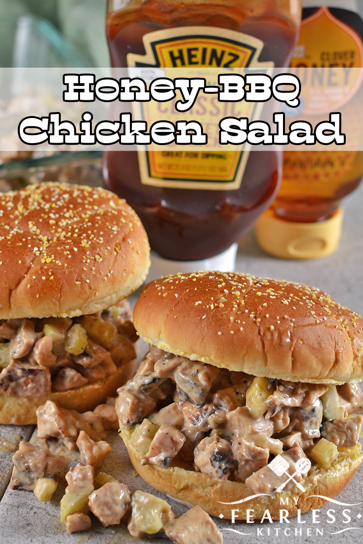 Honey-BBQ Chicken Salad from My Fearless Kitchen. Are you looking for a recipe for leftover chicken? This recipe for Honey-BBQ Chicken Salad is a delicious twist on a classic mayo-based chicken salad. It's a fun way to use up your leftover chicken!