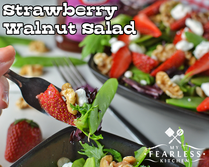 Strawberry Walnut Salad from My Fearless Kitchen. Are you looking for a tastier way to eat your veggies? You can have this Strawberry Walnut Salad as a main course or a side dish. It will have you dreaming of spring all year long!