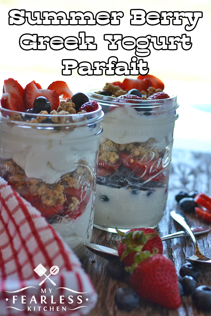 Summer Berry Greek Yogurt Parfait from My Fearless Kitchen. Are you looking for a quick, easy snack that everyone will like and is good for you? This recipe for Summer Berry Greek Yogurt Parfait will be a favorite! #berry #fruit #greekyogurt