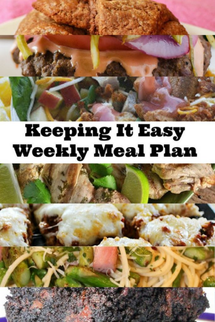 Easy Weekly Meal Plan #15 from My Fearless Kitchen. This week's meal plan includes Apple Parmesan Pork Salad, Turkey Sloppy Joe Pizza, Ham & Asparagus Spaghetti, Dominican Chimichurri Burgers, Chocolate Hazelnut Rugelach, and Grilled Cilantro-Lime Chicken Thighs, and Sea Salt Caramel Mocha Brownies.