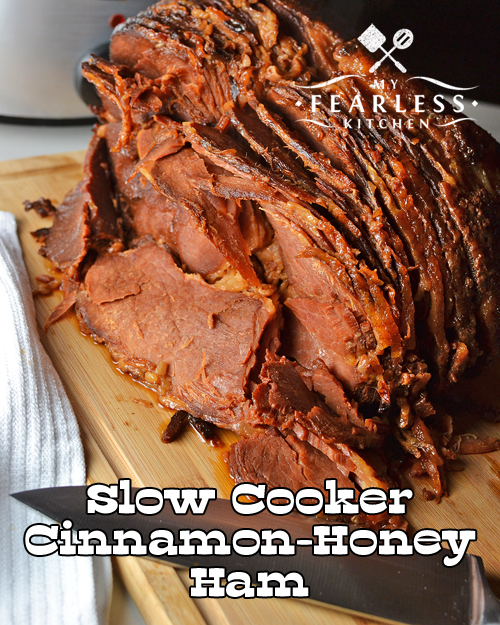Slow Cooker Cinnamon-Honey Ham from My Fearless Kitchen. Are you looking for a different flavor combination for your next ham? This Slow Cooker Cinnamon-Honey Ham is easy to make, and stays moist and delicious!