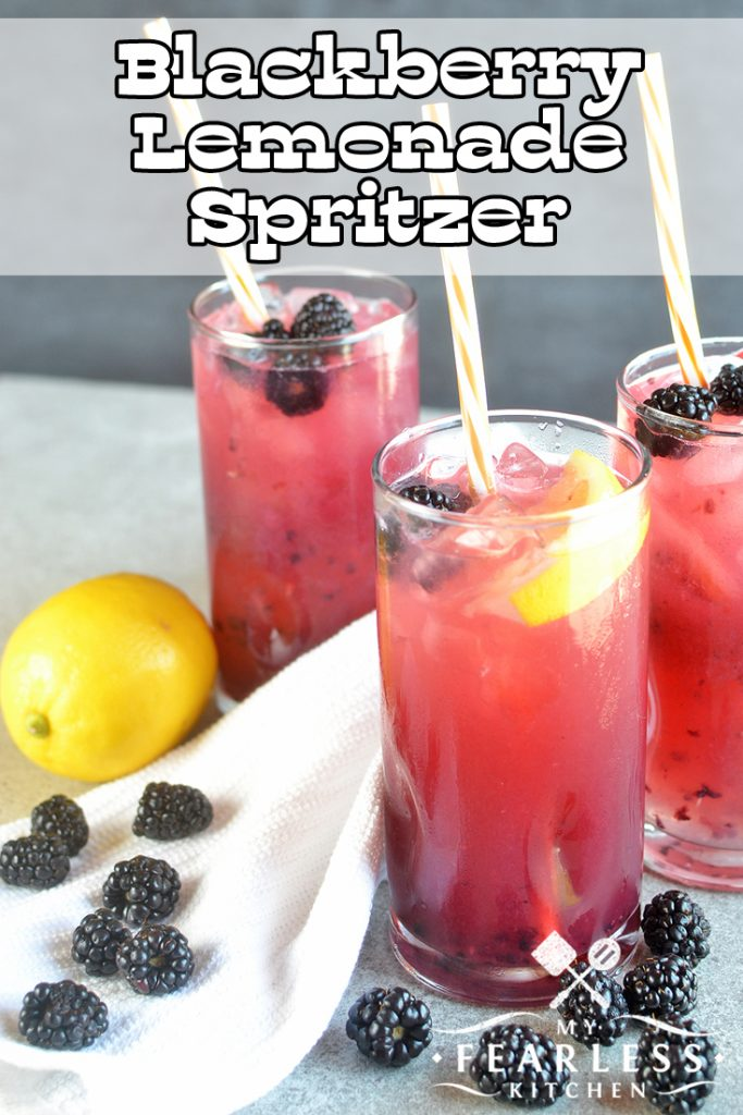 Blackberry Lemonade Spritzer from My Fearless Kitchen. Are you looking for a refreshing summertime drink for adults and kids? You'll love this Blackberry Lemonade Spritzer. Make it a cocktail or a mocktail, and everyone can enjoy it! #cocktails #mocktails #drinkrecipes