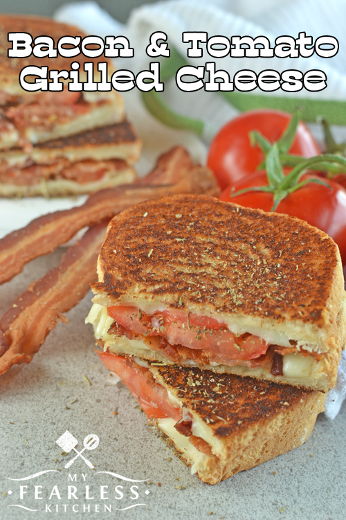 Bacon & Tomato Grilled Cheese from My Fearless Kitchen. Do you need a fast lunch that your kids will eat and adults will enjoy? This Bacon & Tomato Grilled Cheese Sandwich with fresh tomatoes will please everyone! Plus, you can sneak in a vegetable!