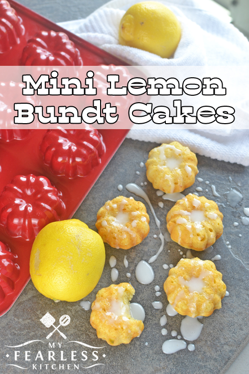 Mini Lemon Bundt Cakes from My Fearless Kitchen. Do you need an easy dessert recipe? These easy Mini Lemon Bundt Cakes start with a box of cake mix, and use milk and Greek yogurt as the main ingredients.