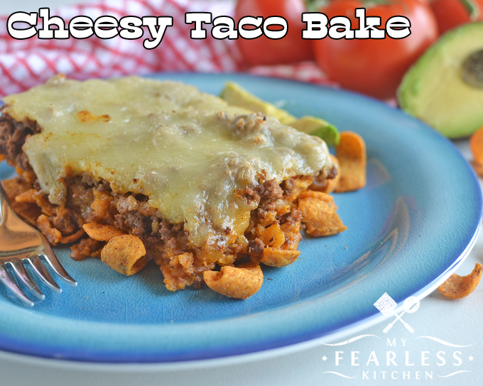 """Cheesy Taco Bake from My Fearless Kitchen. Do you need another recipe to add to your """"quick and easy"""" list? This Cheesy Taco Bake is a quick, easy, and super-tasty twist on traditional taco night!"""