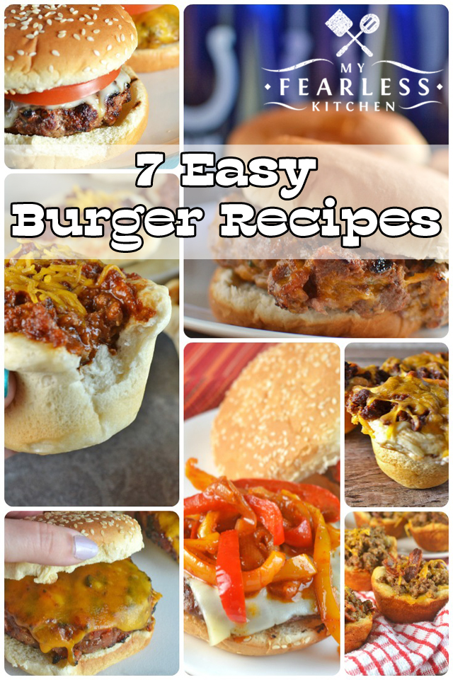 7 Easy Burger Recipes from My Fearless Kitchen. Nothing beats a good burger! Mix and match your favorite burger flavors with these 7 Easy Burger Recipes. There's the perfect recipe for everyone!