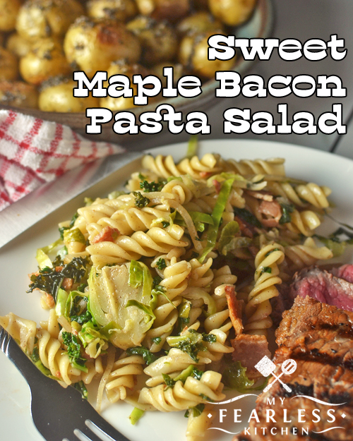 sweet maple bacon salad on a plate with steak