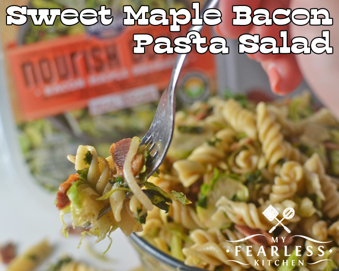 fork of pasta salad with bacon and Mann's Nourish Bowls vegetables
