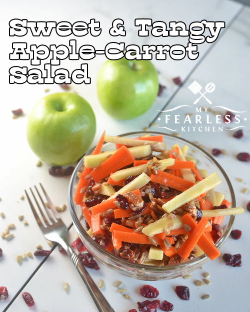 Sweet & Tangy Apple-Carrot Salad from My Fearless Kitchen. Do you want a delicious salad to go with dinner? Try this Sweet & Tangy Apple-Carrot Salad instead of a regular leaf lettuce salad. Everyone will love it!