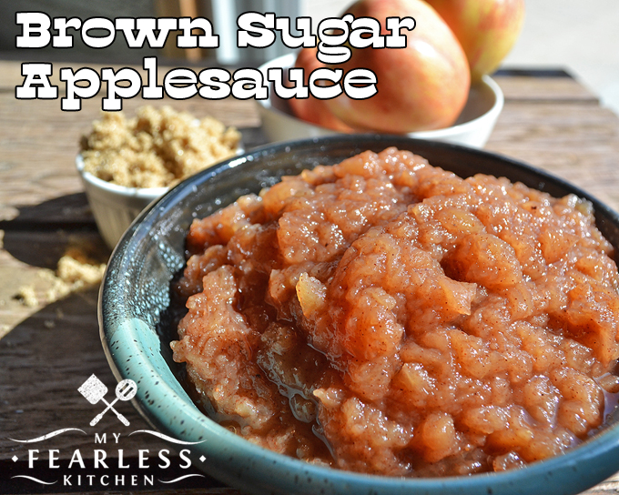 Slow Cooker Brown Sugar Applesauce from My Fearless Kitchen. This recipe couldn't be any easier! Toss some apples and some spices in your slow cooker for some delicious homemade Slow Cooker Brown Sugar Applesauce.